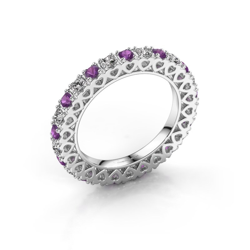 Stackable ring Hailey 585 white gold amethyst 2.2 mm