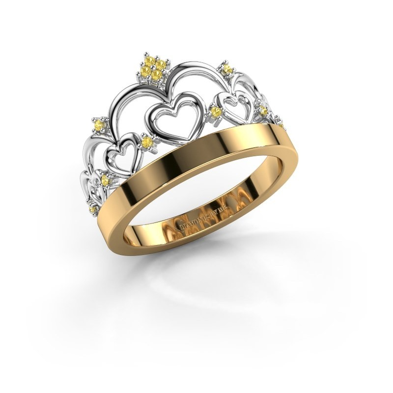 Ring Kroon 1 585 goud gele saffier 1 mm