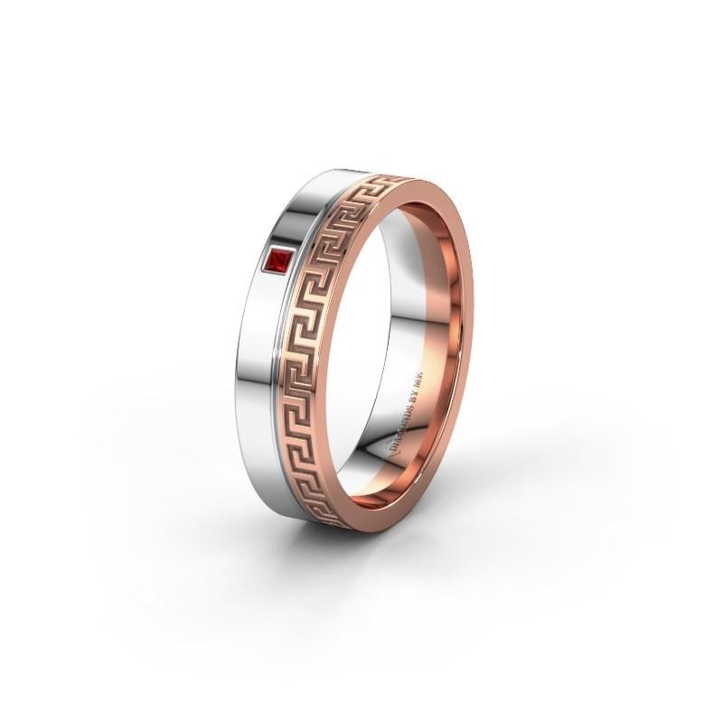 Huwelijksring WH0252L24X 585 rosé goud robijn ±4x1.5 mm