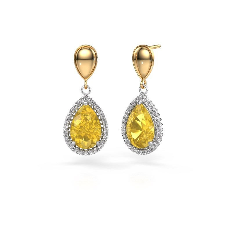 Drop earrings Tilly per 1 585 white gold yellow sapphire 12x8 mm