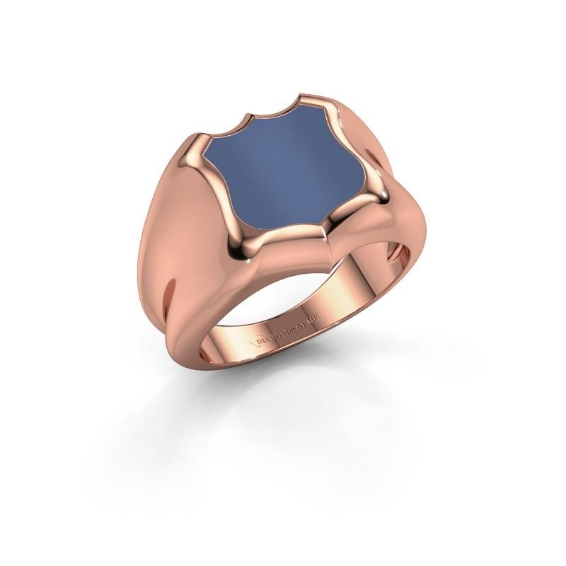 Zegelring Nevin 375 rosé goud blauw lagensteen 12x12 mm