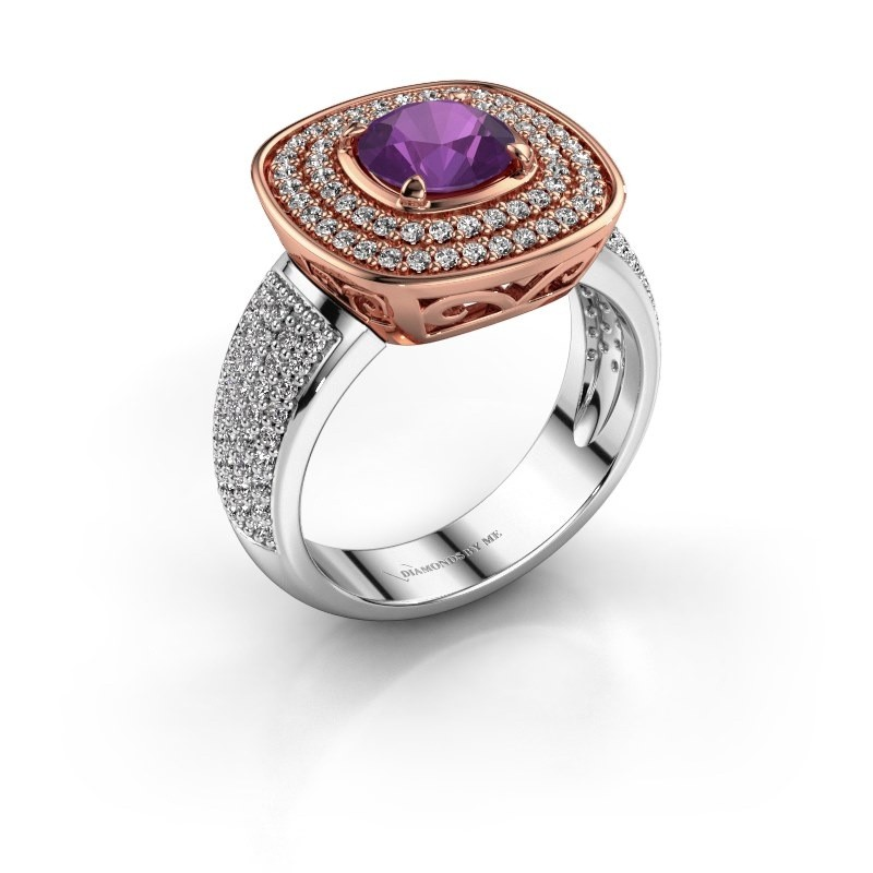 Ring Eliana 585 rosé goud amethist 6 mm