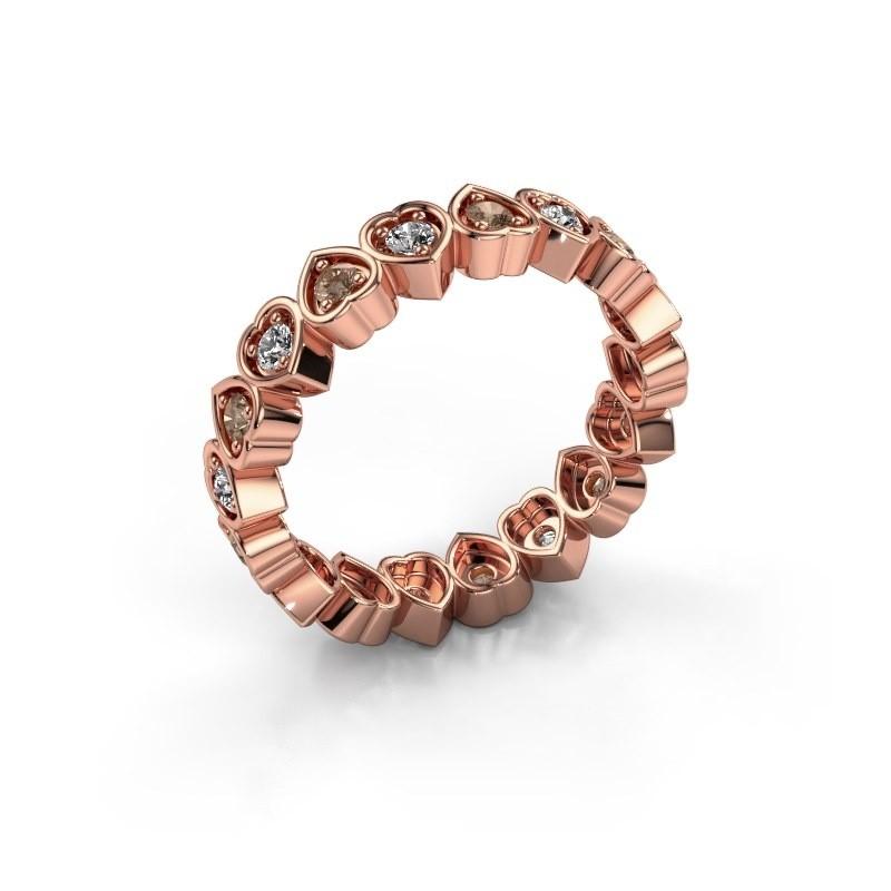 Stackable ring Pleun 375 rose gold brown diamond 0.54 crt