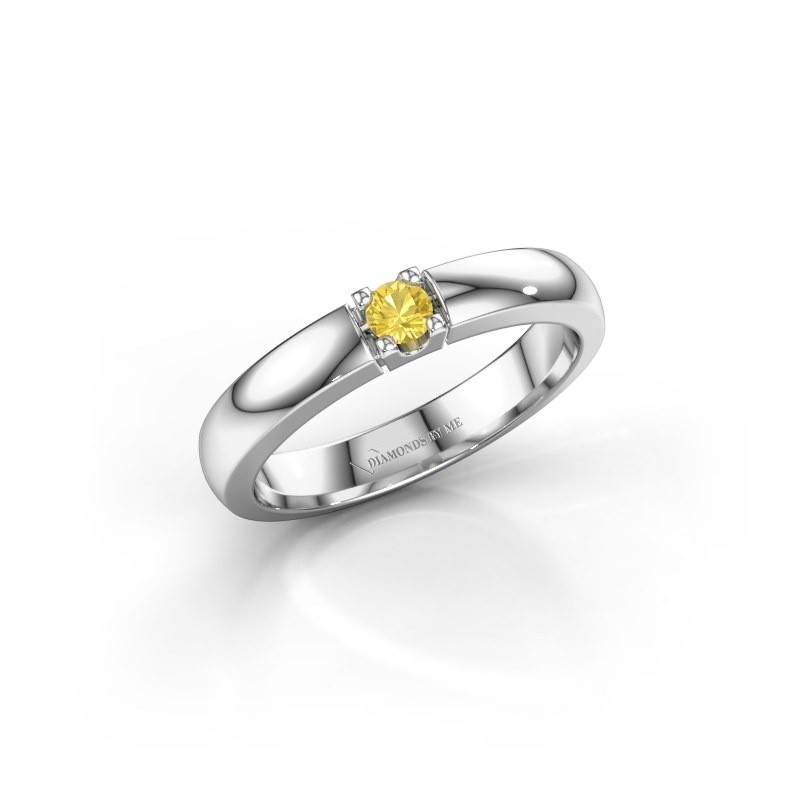 Engagement ring Rianne 1 585 white gold yellow sapphire 3 mm