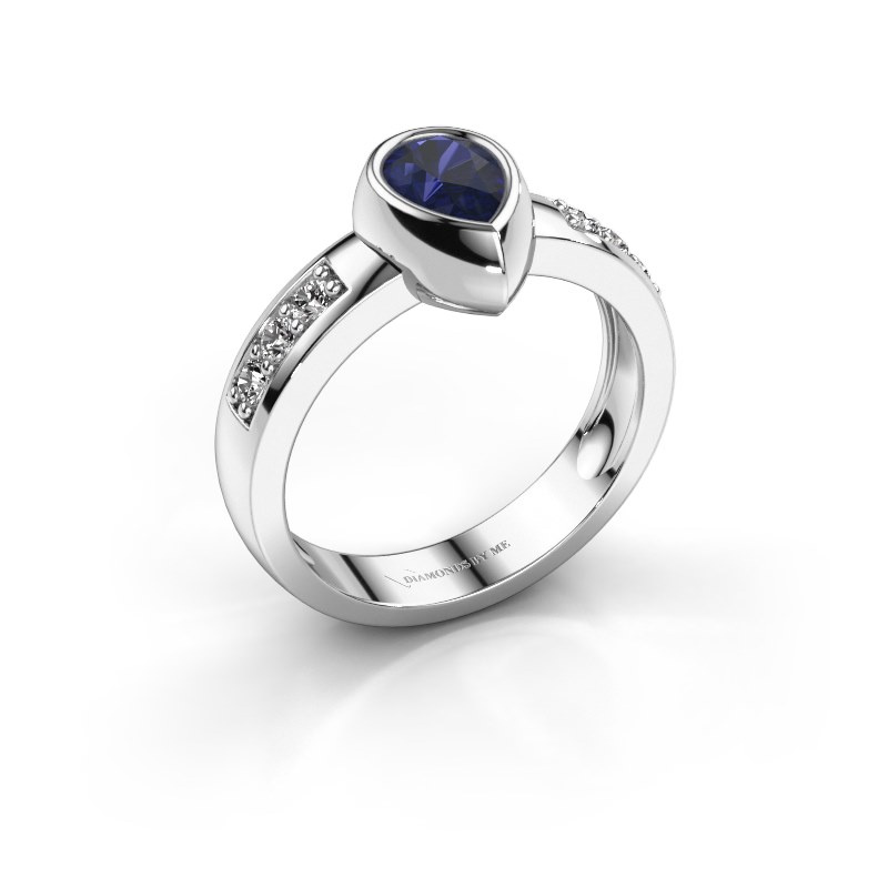 Ring Charlotte Pear 585 white gold sapphire 8x5 mm