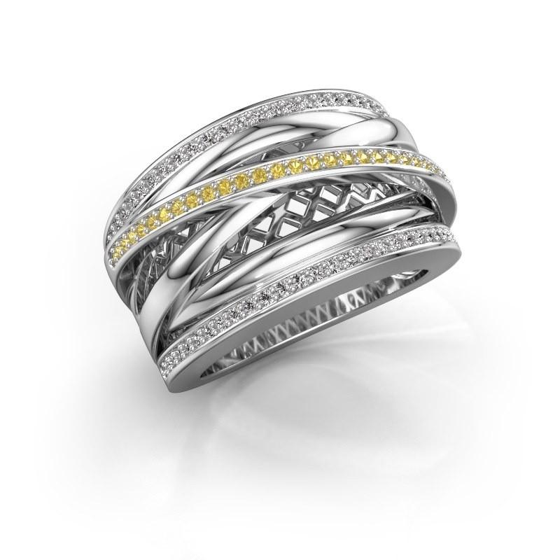 Ring Tabita 950 platina gele saffier 1 mm