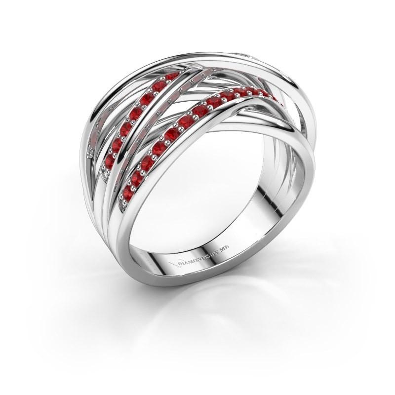 Ring Fem 2 585 white gold ruby 1.5 mm