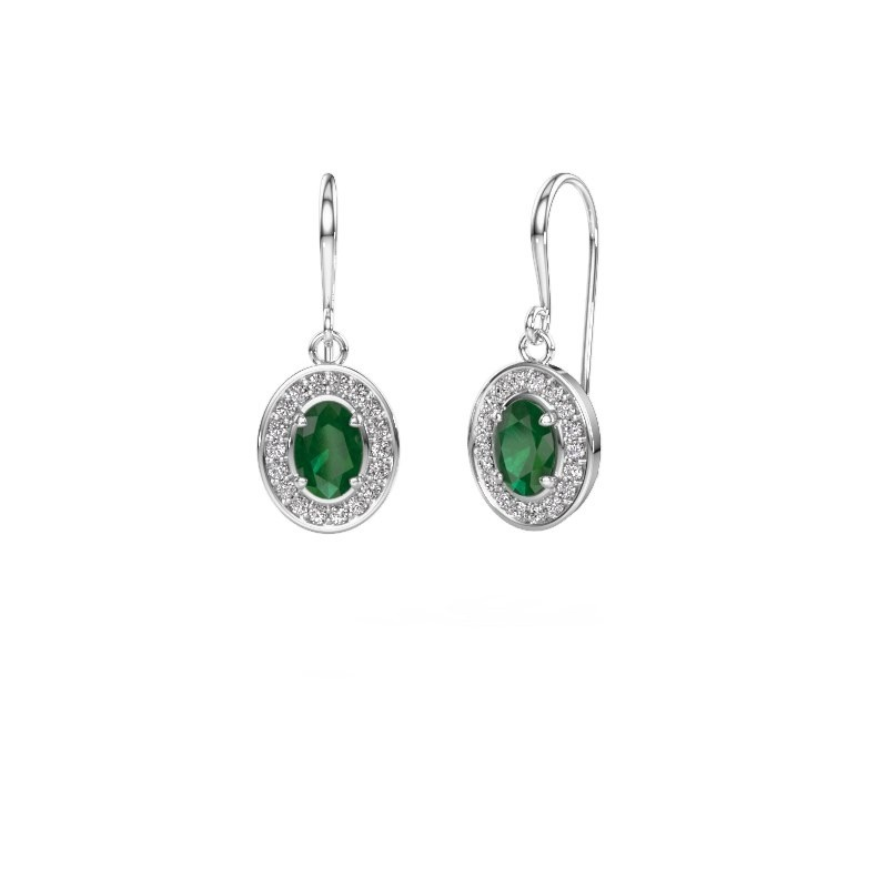 Drop earrings Layne 1 950 platinum emerald 6.5x4.5 mm