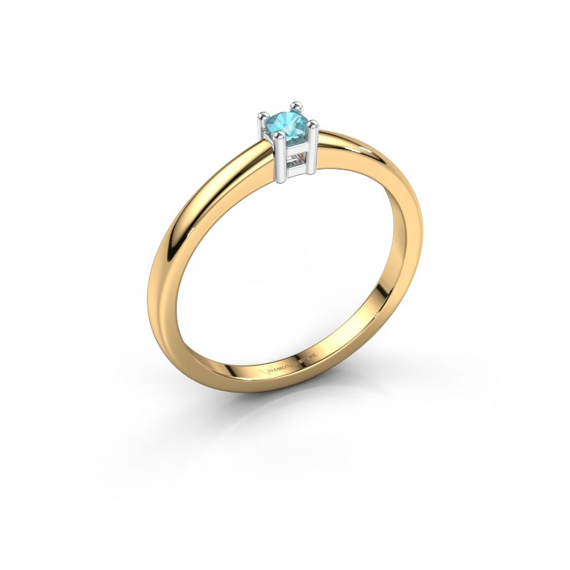 Promise ring Eline 1 585 goud blauw topaas 3 mm