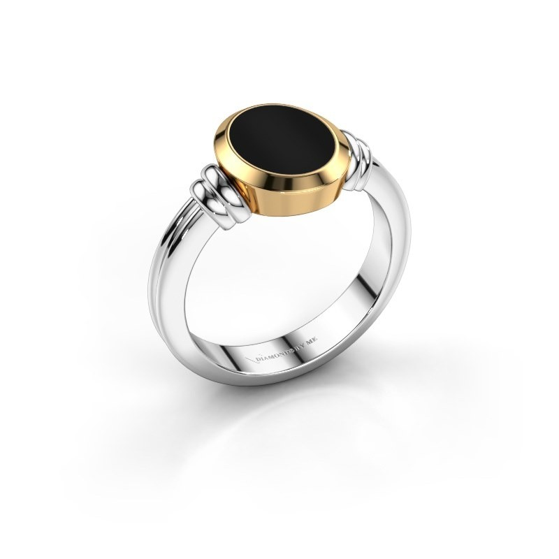 Pinkring Jake 1 585 witgoud onyx 10x8 mm