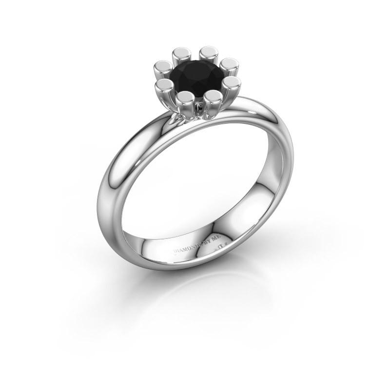 Stapelring Carola 1 585 witgoud zwarte diamant 0.60 crt