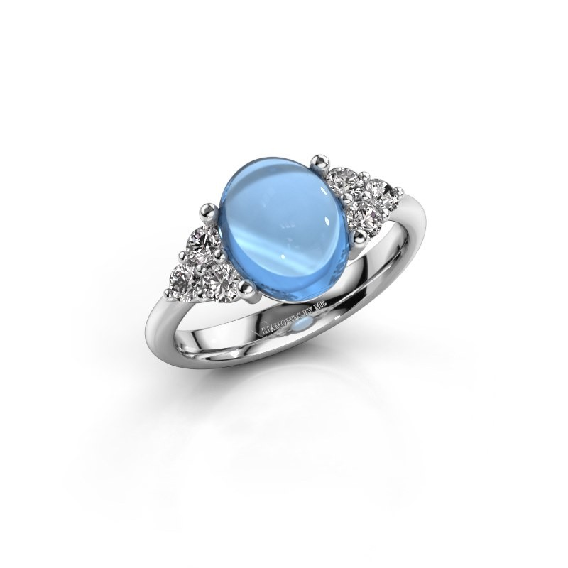 Ring Clarice 925 zilver blauw topaas 10x8 mm
