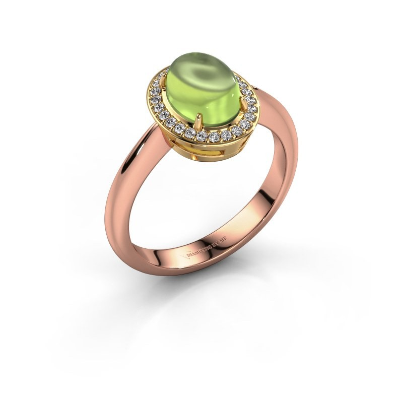 Ring Kristian 585 rose gold peridot 8x6 mm