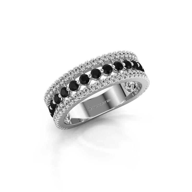 Verlovingsring Elizbeth 1 925 zilver zwarte diamant 0.942 crt