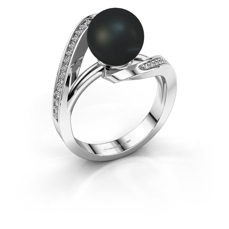 Ring Amber 585 witgoud zwarte parel 9 mm