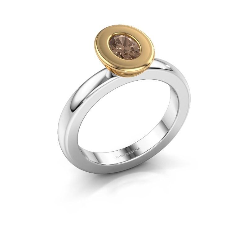 Stapelring Eloise Oval 585 witgoud bruine diamant 0.50 crt