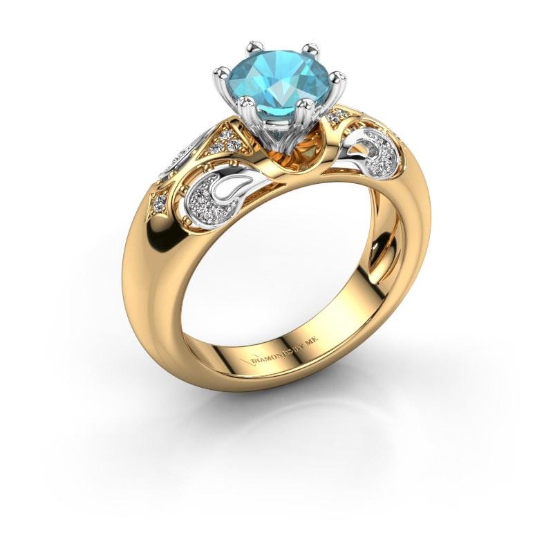 Ring Maya 585 goud blauw topaas 6.5 mm