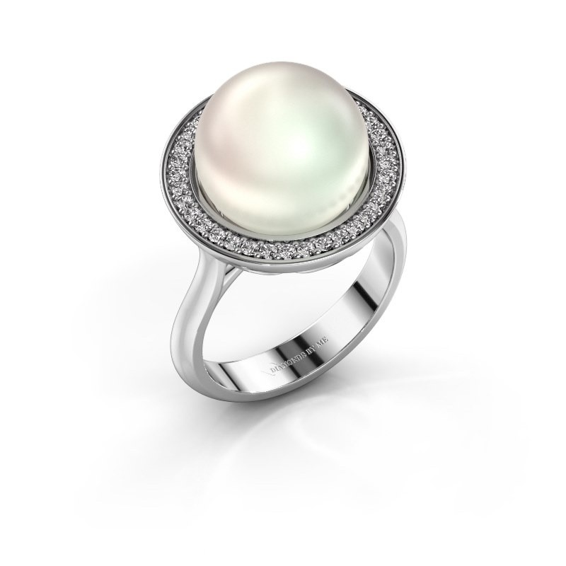 Ring Grisel 375 witgoud witte parel 12 mm