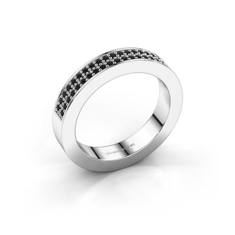 Stackable ring Catharina 2 375 white gold black diamond 0.352 crt