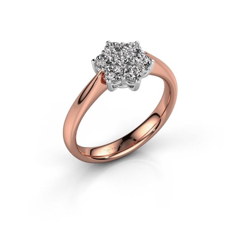 Promise ring Chantal 1 585 rosé goud diamant 0.15 crt