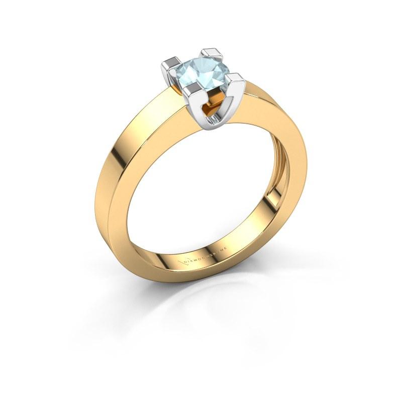 Promise ring Anne 1 585 goud aquamarijn 4.7 mm