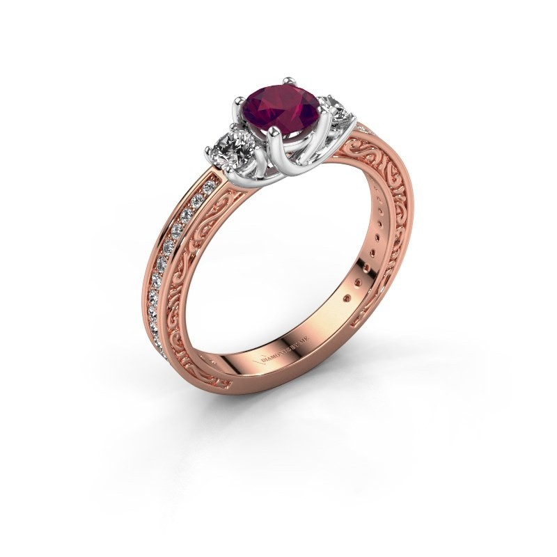 Verlovingsring Betty 2 585 rosé goud rhodoliet 5 mm