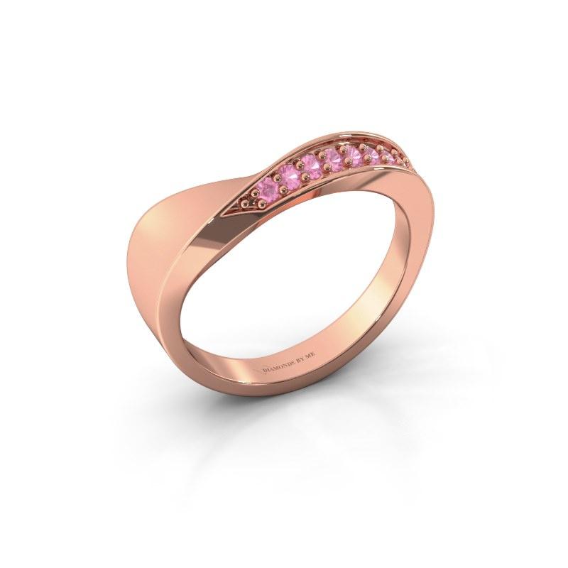 Ring Lynn 585 rosé goud roze saffier 1.6 mm