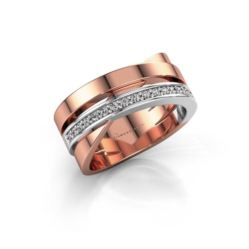 Ring Yolando 585 rosé goud lab-grown diamant 0.16 crt
