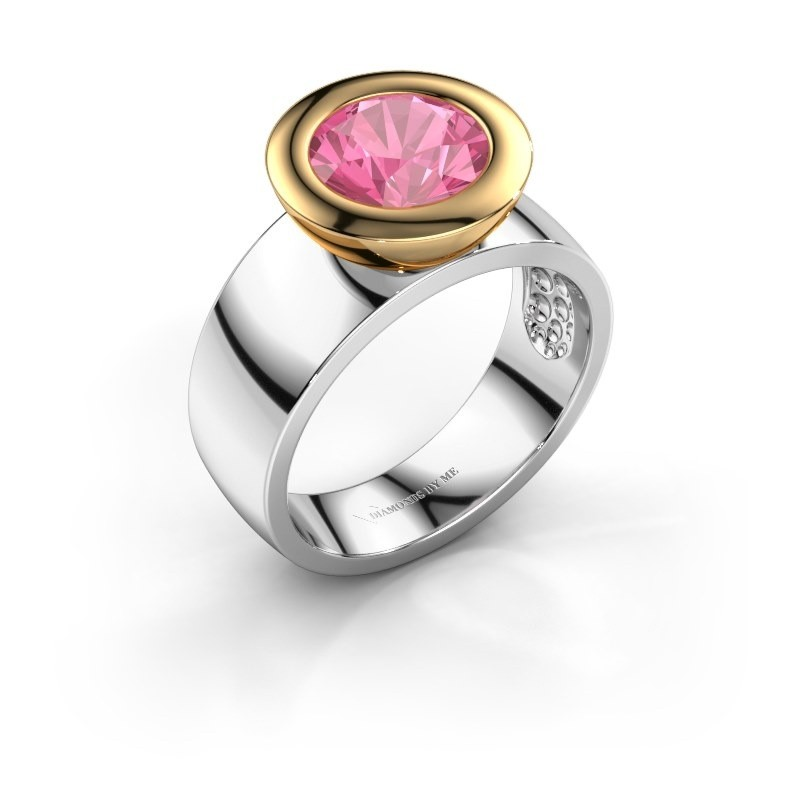Ring Maxime 585 witgoud roze saffier 8 mm