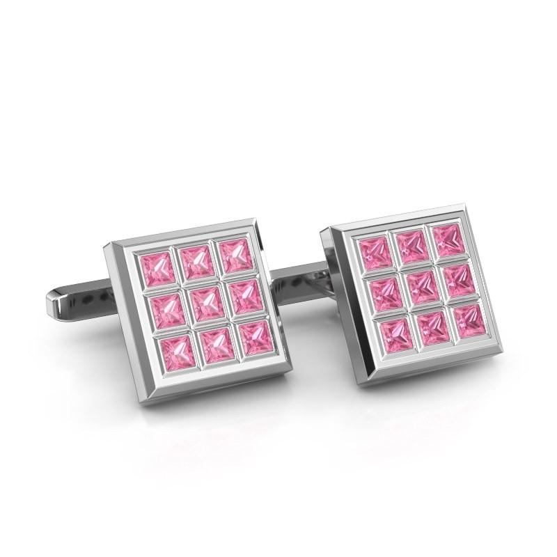 Cufflinks Clen 585 white gold pink sapphire 3 mm
