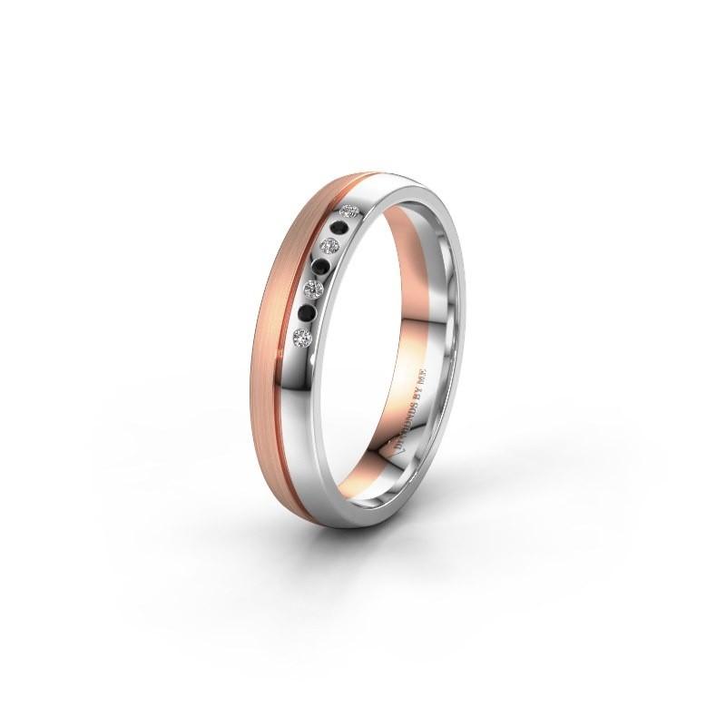 Wedding ring WH0216L24APM 585 white gold black diamond ±0.16x0.07 in