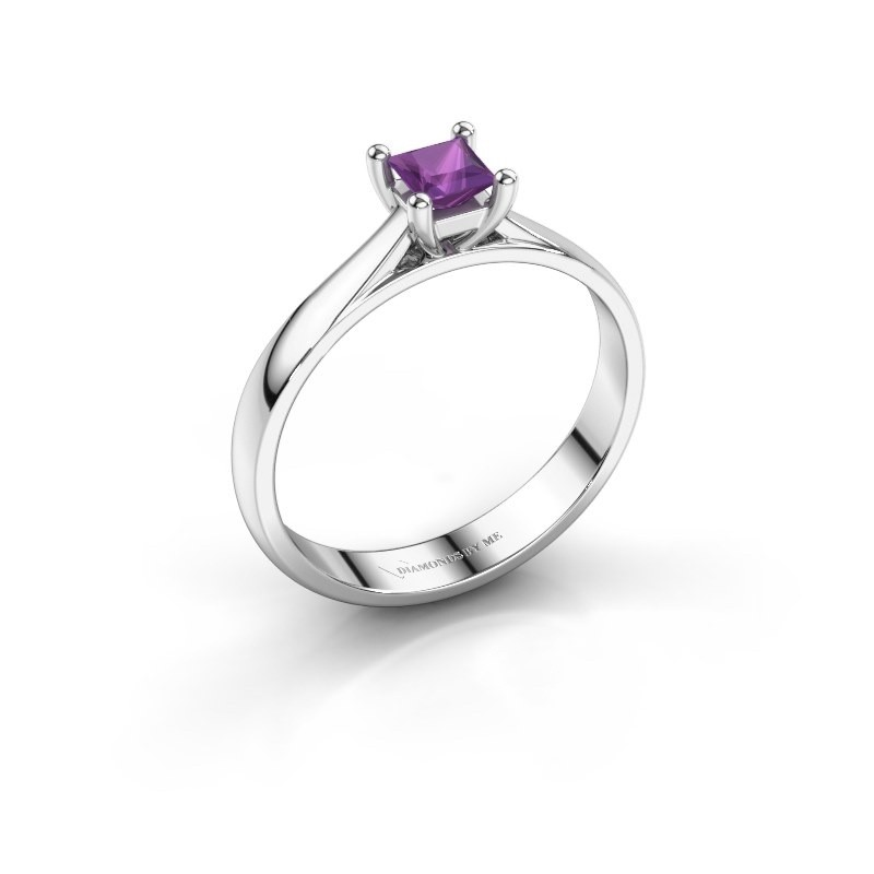 Engagement ring Sam Square 925 silver amethyst 4 mm