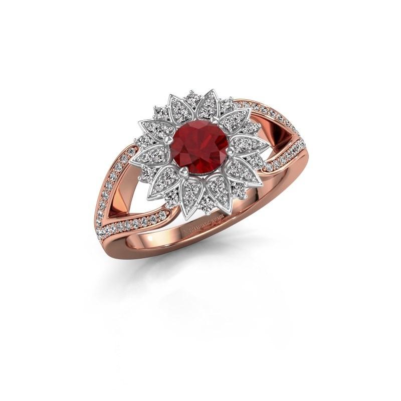 Aanzoeksring Chasidy 2 585 rosé goud robijn 5 mm