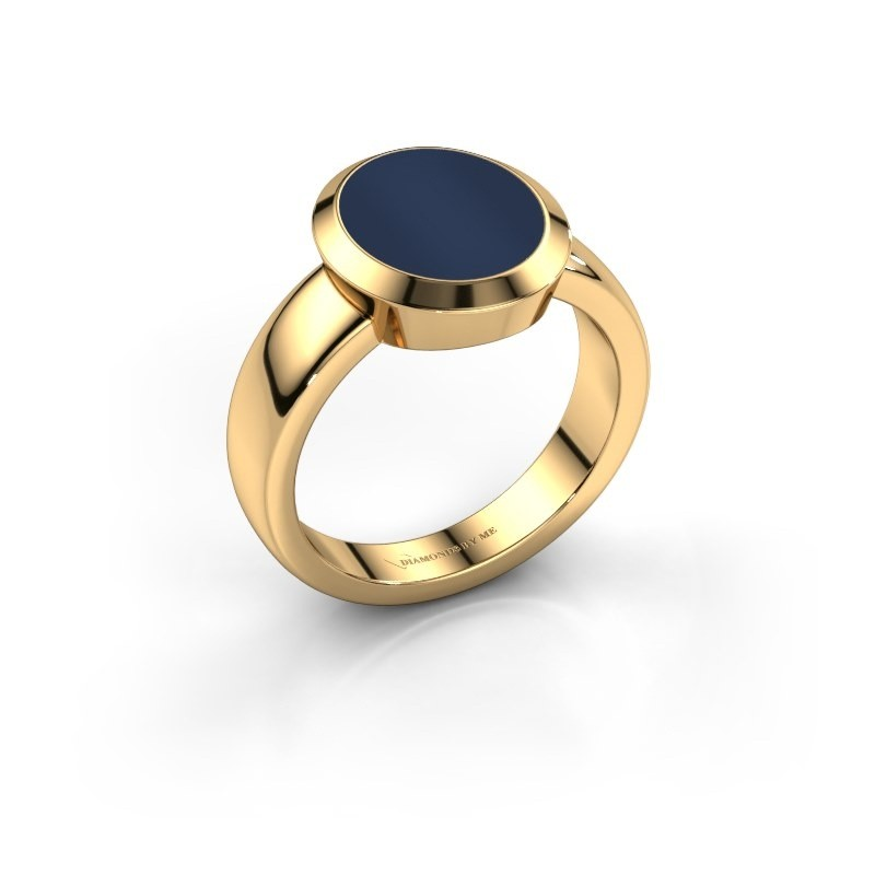 Zegelring Oscar 3 585 goud donker blauw lagensteen 12x10 mm