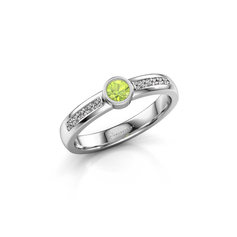 Engagement ring Ise 2 585 white gold peridot 3.7 mm