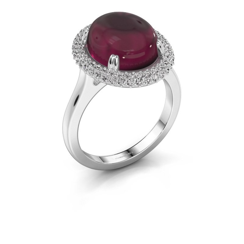Bague Jayna 375 or blanc rhodolite 12x10 mm