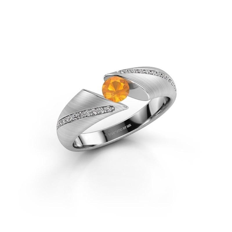 Engagement ring Hojalien 2 585 white gold citrin 4.2 mm