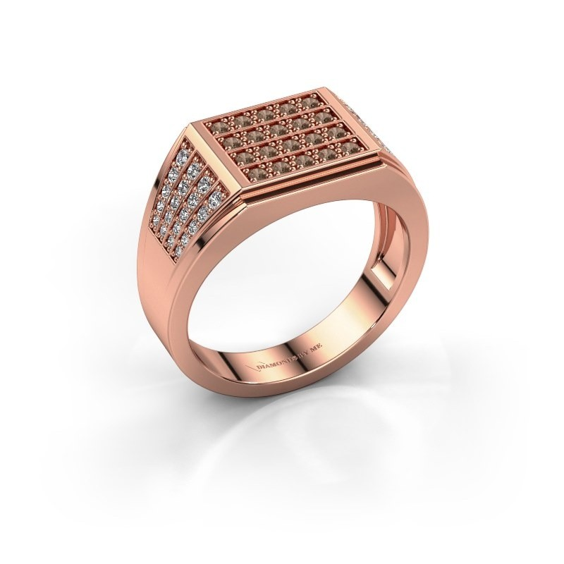 Men's ring Tim 375 rose gold brown diamond 0.654 crt