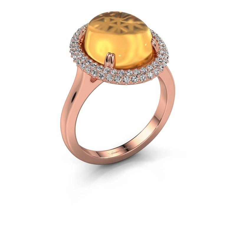 Ring Jayna 375 Roségold Citrin 12x10 mm