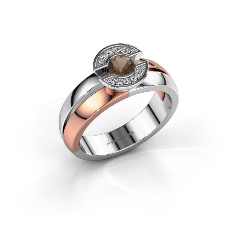 Ring Jeanet 1 585 rosé goud rookkwarts 4 mm