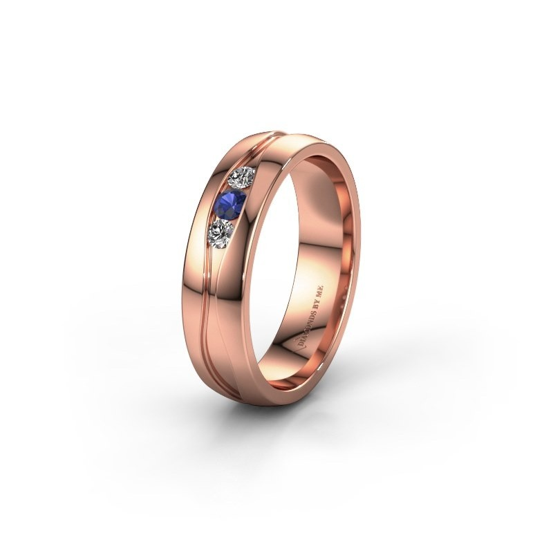 Wedding ring WH0172L25A 375 rose gold sapphire ±5x1.7 mm