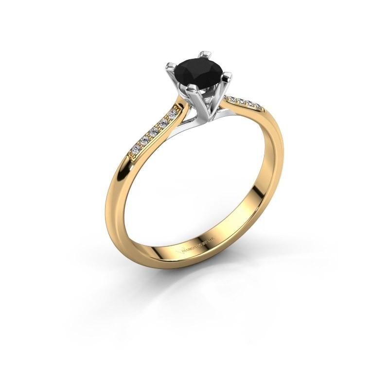 Aanzoeksring Isa 2 375 goud zwarte diamant 0.36 crt