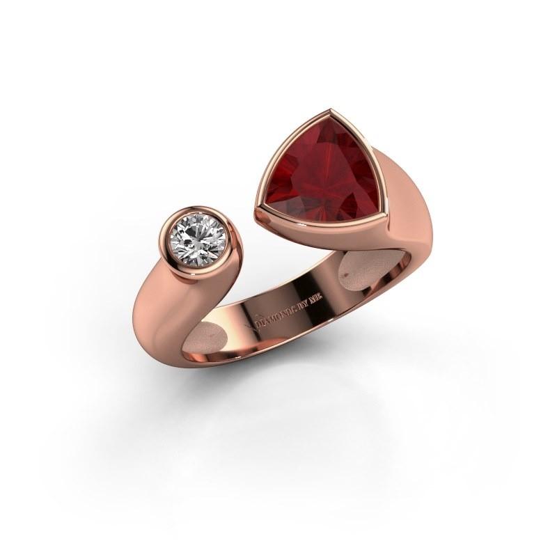 Ring Latisha 375 rosé goud robijn 7 mm