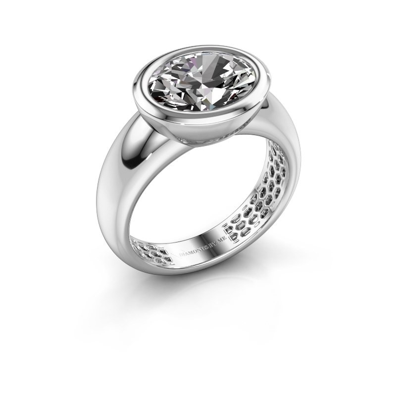 Ring Evelyne 585 witgoud zirkonia 10x8 mm