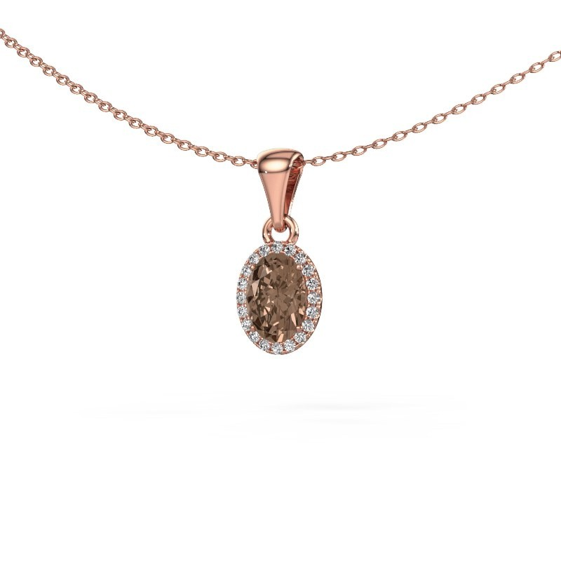 Hanger Seline ovl 375 rosé goud bruine diamant 0.90 crt
