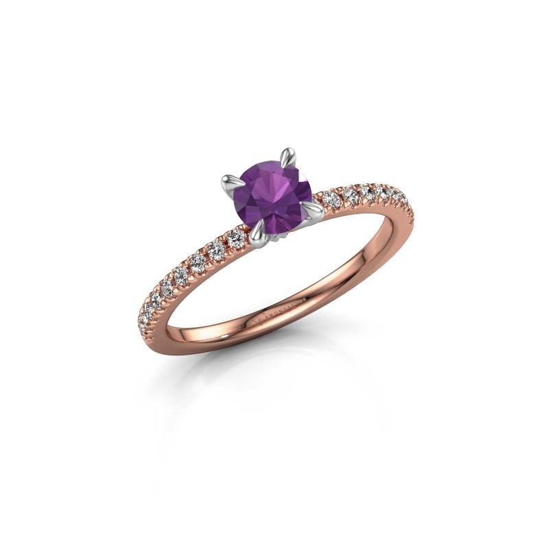 Verlovingsring Crystal rnd 2 585 rosé goud amethist 5 mm