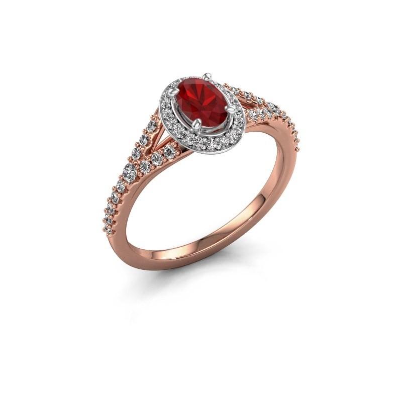 Belofte ring Pamela OVL 585 rosé goud robijn 7x5 mm