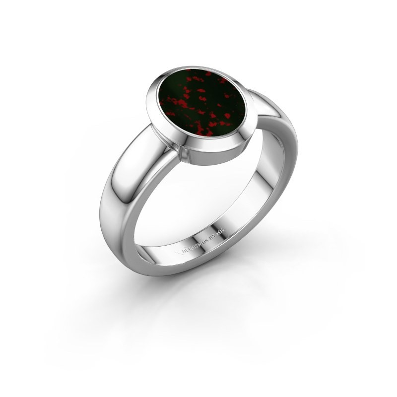 Signet ring Freeda 1 925 silver bloodstone 10x8 mm
