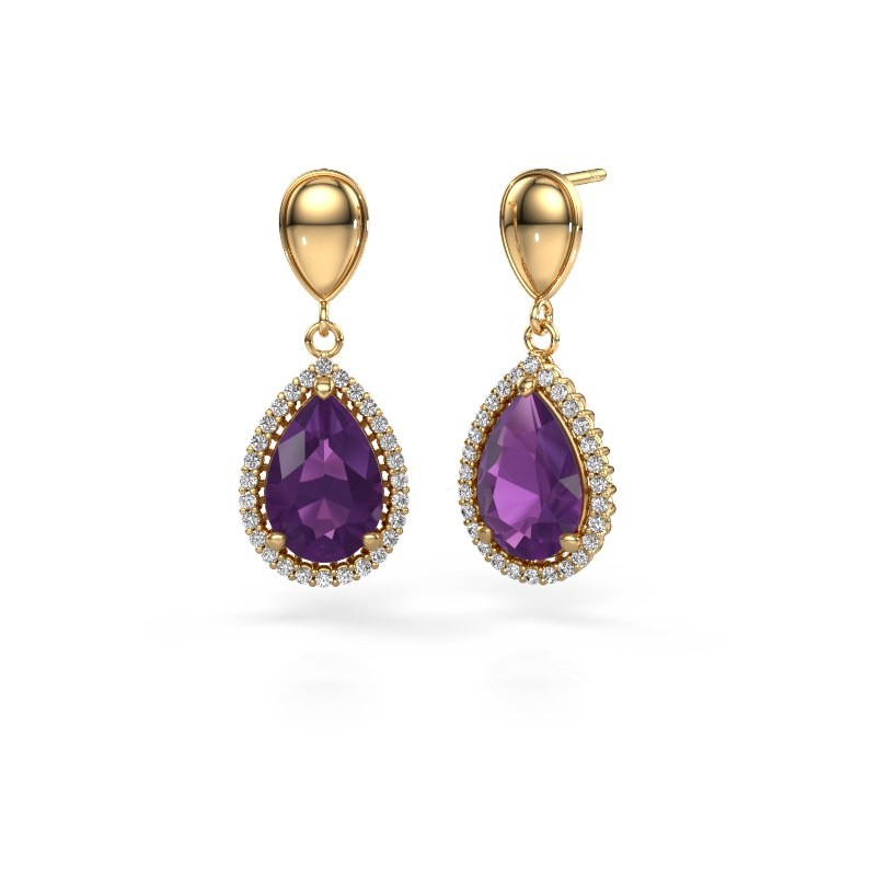 Drop earrings Tilly per 1 585 gold amethyst 12x8 mm