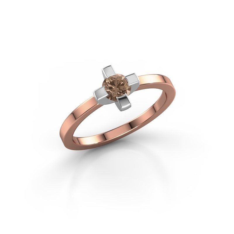 Ring Therese 585 rosé goud bruine diamant 0.30 crt